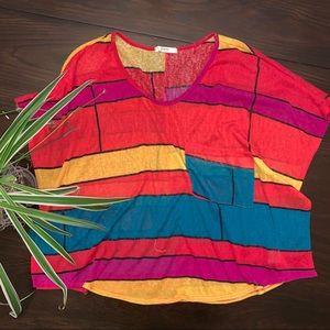 Tops - BOGO FREE - Colorful color block crop top